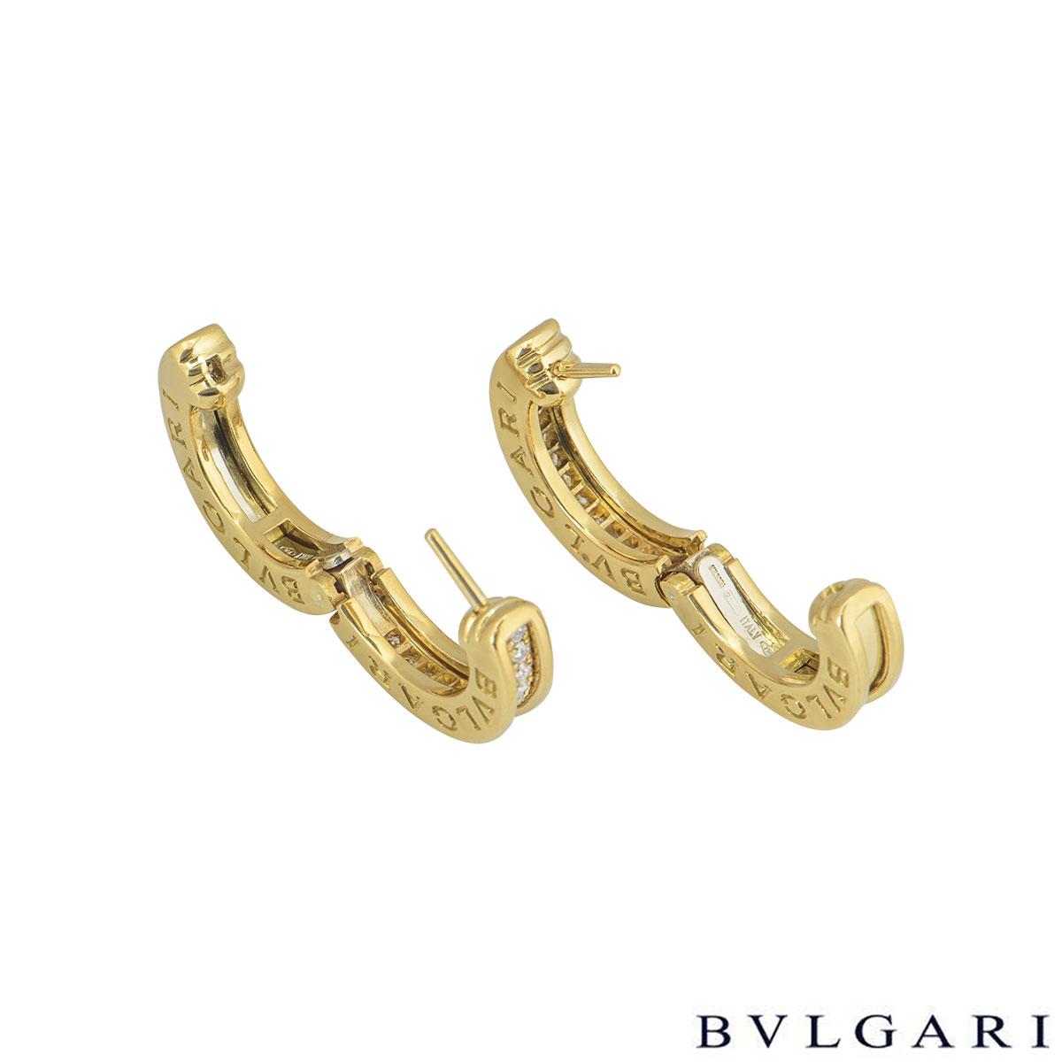 Bvlgari Yellow Gold Diamond B.Zero1 Set Hoop Earrings